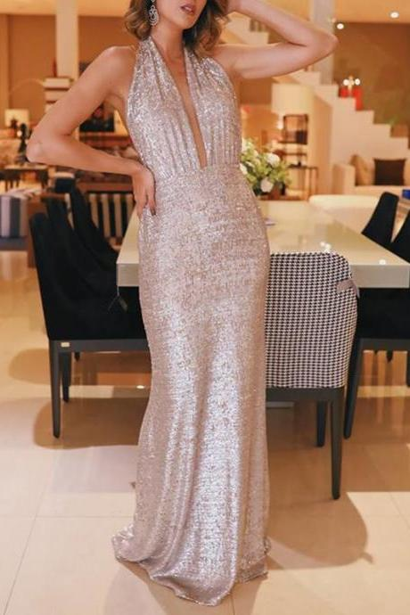 Champagne Sequin Halter Backless Sheath Sparkly Prom Dresses,p3910