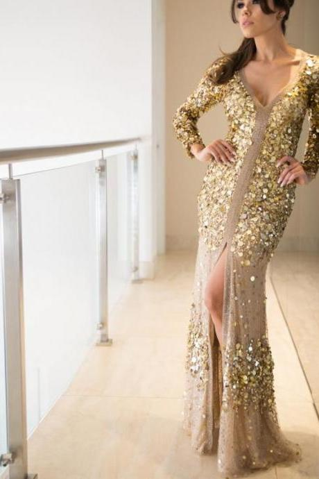 Fashion Gold Sequin Long Sleeve See Through Back Long Prom Dresses,p3913