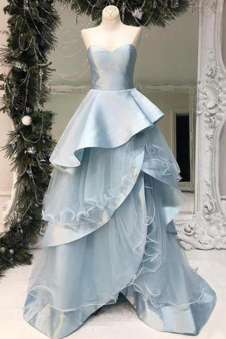 Pale Blue Tiered Ball Gown Sweetheart Strapless Prom Dresses ,p3914