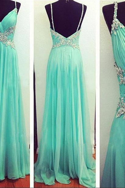 V-Neck Prom Dresses, Beaded Prom Dress, 2017 Chiffon Party Gown, Floor Length Evening Gowns