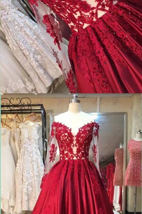 2017 Custom Made Charming Red Prom Dress,Appliques Beaded Evening Dress,Long Sleeves Party Dress