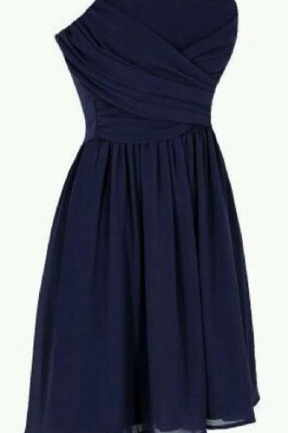 Navy Blue Ruched Chiffon Short A-Line Homecoming Dress, Bridesmaid Dress