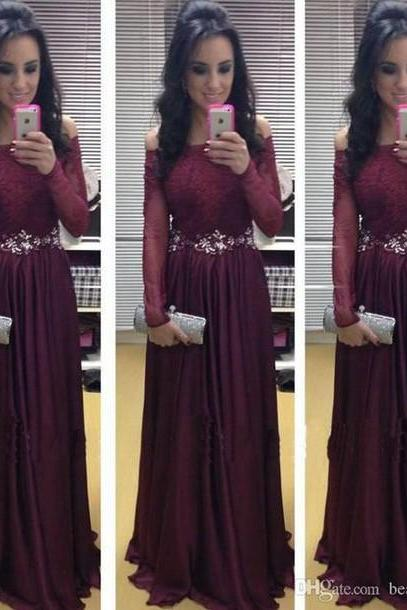 New Arrival Long Sleeve Floor-Length Charming Prom Dresses,A-Line Lace Floor-Length Evening Dresses, Prom Dresses, Real Made Prom Dresses