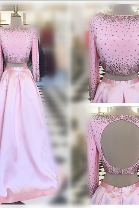 Pink Prom Dresses,Two Pieces Prom Dresses,Beaded Prom Dresses,Backless Prom Dresses,Long Sleeves Prom Dresses,Evening Dresses