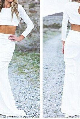 White Prom Dress,Long Sleeve Prom Dress,Two Pieces Prom Dress