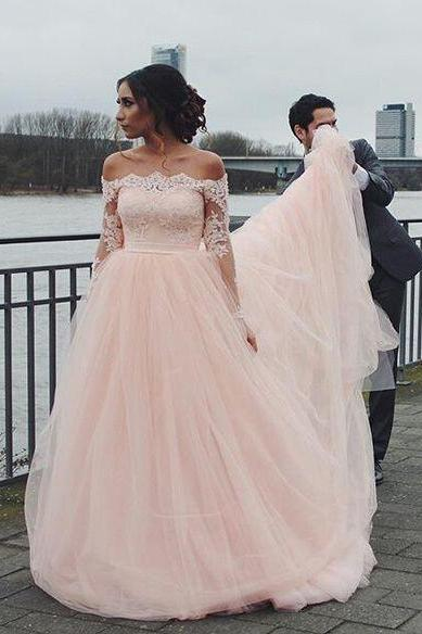 Long Sleeve Lace Bridal Dress,Off the Shoulder Tulle Prom Dress,Custom Made Evening Dress