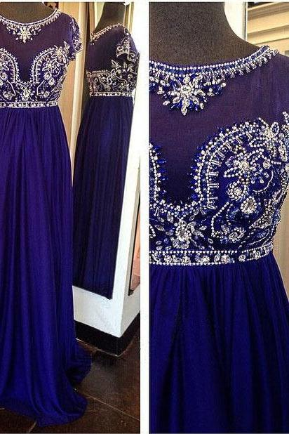 Royal Blue Long Pom Dresses,Custom Made Pom Dresses,Beading Pom Dresses,Chiffon Pom Dresses,A-Line Evening Gowns