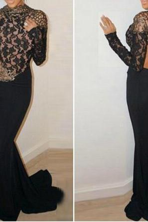 Sexy Lace Black Prom Dress, Mermaid Evening Dress,Long Sleeves Prom Dress
