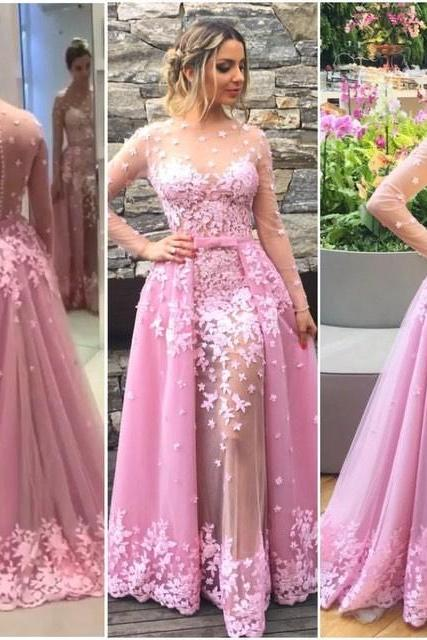 Beautiful Prom Dresses,Ball Gown, Pink Lace Prom Gowns,Lace Formal Dresses,Backless Prom Dresses,Fashion Evening Gown,Pink Formal Dress, Senior Prom Dresses