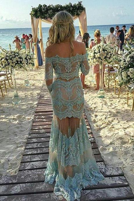 Delicate Off Shoulder Lace Prom Dress, Long Sleeves Prom Dress, Sheath Turquoise Lace Prom Dress, Lace Evening Dress, Lace Formal Dress, Charming Prom Dress