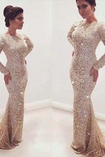 Charming Prom Dress,Long Sleeve Prom Dress,Mermaid Prom Dress,Long Prom Dress,Evening Dress
