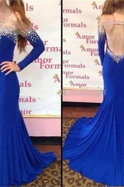 Charming Prom Dress,Satin Prom Dress,Long-Sleeves Prom Dress,Beading Evening Dress
