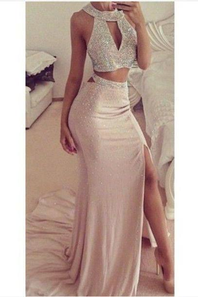 O Neck , two Pieces, Mermaid, Tor Teens, Long Prom Dresses, Sexy Gowns Dresses