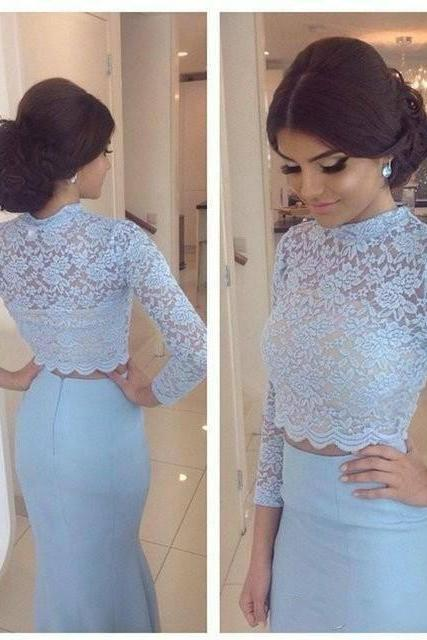 Lace Bodice Two Pieces Prom Dresses,Mermaid Prom Dresses,2 Pieces Party Dresses