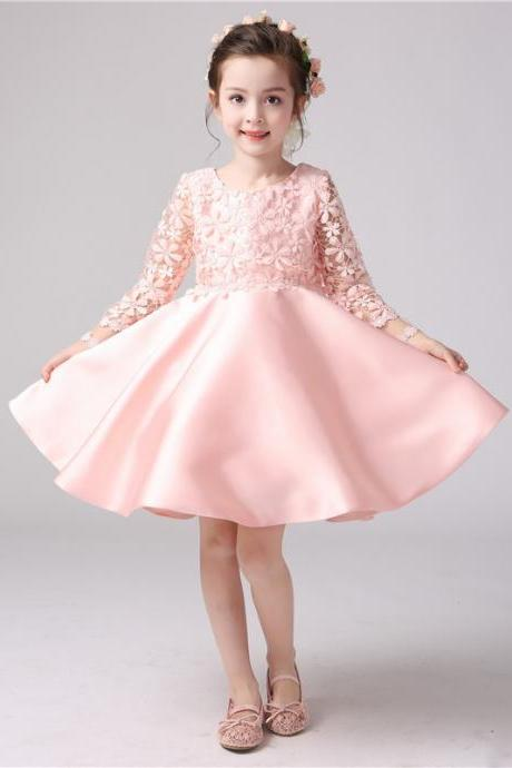 Custom Made Pink Floral Applique Long Sleeve Satin Short Evening Dress, Party Frock, Flower Girl Dresses, First Communion Dress, Pageant Dress