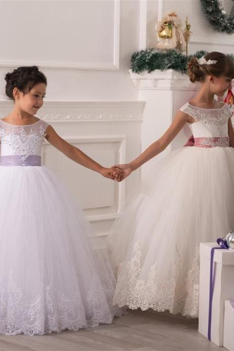 Jewel Applique Rhinestone Bow Tulle Kids Formal Wear With Floor Length,Simple Flower Girl Dress,Custom Made Evening Dress