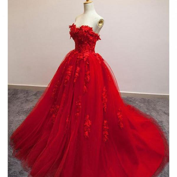 Hot Selling Wedding Dress,A-Line Wedding Dress,Ball Gown Wedding Dress,Poofy Sweetheart Bridal Dress,Red Floral Lace Long Wedding Dress,Strapless Red Tulle Wedding Dress