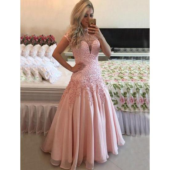 Open Back Prom Dress,A-line High Neck Prom Gowns,Chiffon Tulle Pearl Detailing Formal Dress,Short Sleeve Prom Dresses 2017,Evening Dress 2017,Party Dress