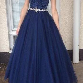 Dark blue round neck lace tulle long prom dress, unique evening dress,Fashion Prom Dress,Sexy Party Dress,Custom Made Evening Dress