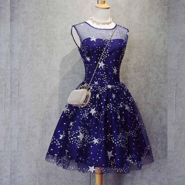 Fashion A-Line Jewel Sleeveless Navy Blue Short Homecoming Dress With Beading