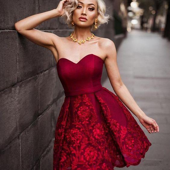 Homecoming Dresses,Sweetheart Homecoming Dress, New Homecoming Dresses, Sexy Burgundy Homecoming Dresses