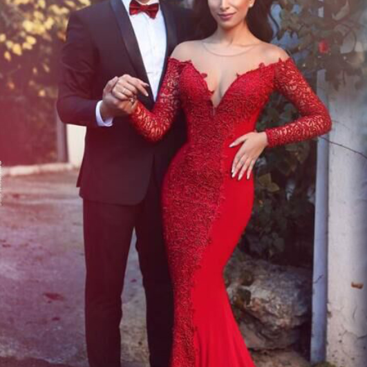 Sexy Mermaid Prom Dress Evening Dress ,Red Long Sleeves Formal Women Dress,Evening Gowns,P1615