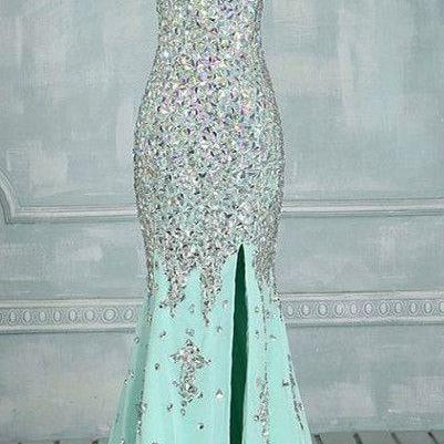 Blue Prom Dresses,Mermaid Evening Dresses,Side Slit Prom Gowns,Elegant Prom Dress With Beading Rhinestones,P1652