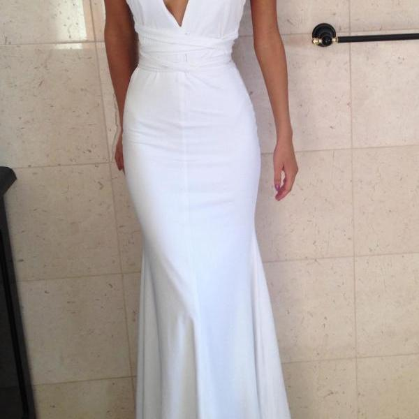 Prom Dress,Sexy Evening Gowns White Deep V Neck Mermaid Prom Dresses, Formal Gown, Evening Dress,Cocktails Dress,Homecoming Dresses, Formal Occasion Dresses,Formal Dress,P1653