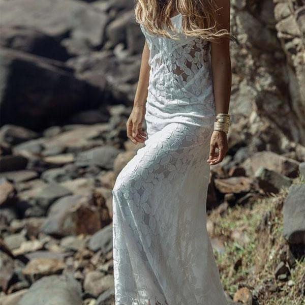 Mermaid Spaghetti Strap Sweep Train Lace Simple Wedding Dresses,W1711