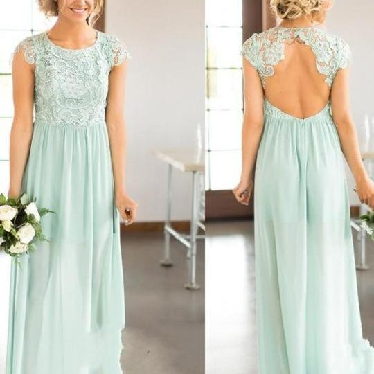 Round-Neck Lace Chiffon Floor-Length A-line Bridesmaid Dress Featuring Cutout Back and Cap Sleeves