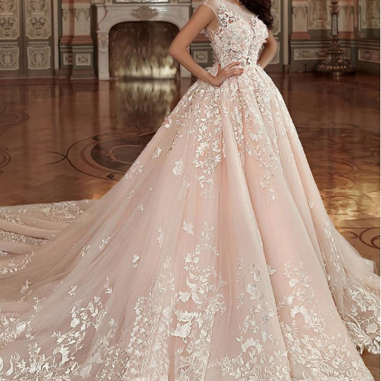 Stunning Tulle & Organza Bateau Neckline Ball Gown Wedding Dress With Lace Appliques & 3D Flowers & Beadings,W1891