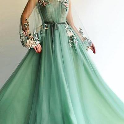 Sexy Long Sleeve Tulle A-Line Prom Dresses Sweetheart Applique Evening dress cheap hot dress,P2175