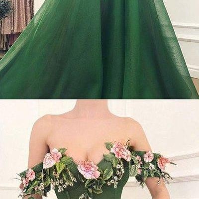 2018 Sexy A-LINE Prom Dress Green Long Evening Dresses Tulle Formal Gowns,P2177