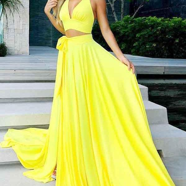 Sexy A Line Two Piece Prom Dresses, V-Neck Yellow Satin Prom Party Dress with Split,Sleeveless Prom Dress,Prom Dresses,P2258