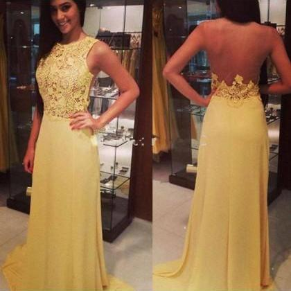 Yellow Lace Prom Dresses, See Through Long Prom Dresses,Cheap Prom Dresses,Graduation Dresses,Formal Women Dress,Evening Party Gowns,P2259
