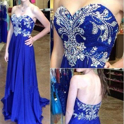 New Design Charming Royal Blue Chiffon Prom Dress,Strapless Empire Waist Prom Dresses, A-Line Long Evening Dress Prom Gown,Party Dress,P2261