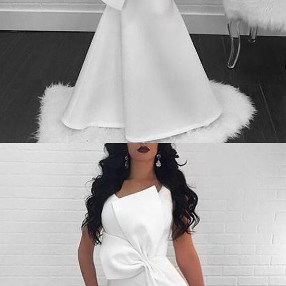Mermaid Prom Dresses Scoop Floor-length Chic Long Simple White Cheap Prom Dress,P2641