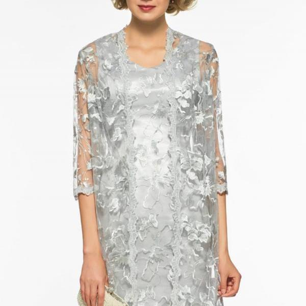 V Neck Sheath Lace Short Mother Of The Bride Dress,P2750