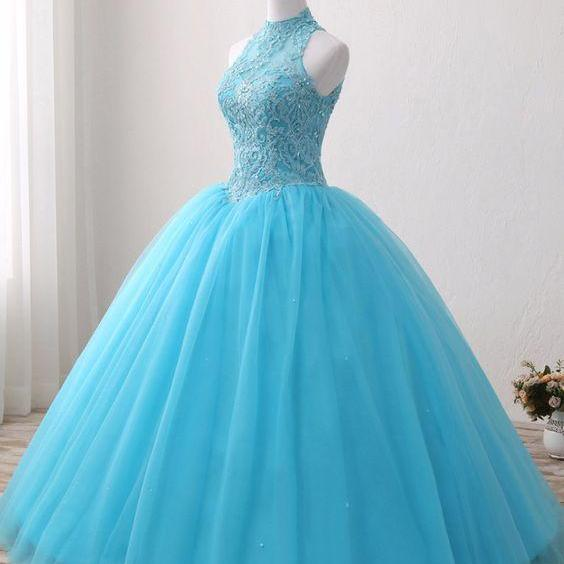 Blue Lace O Neck Strapless Long Tulle Quinceanera Dress, Formal Prom Gown ,P2838
