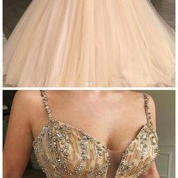 Spaghetti Straps Beaded Ball Gown Tulle Cheap Long Evening Prom Dresses, Custom Sweet16 Dresses,P2839