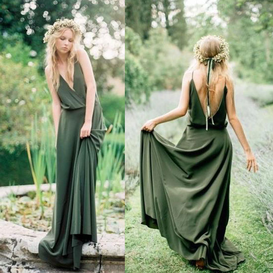 Boho Olive Green V Neck Bridesmaid Dresses Long,B2841