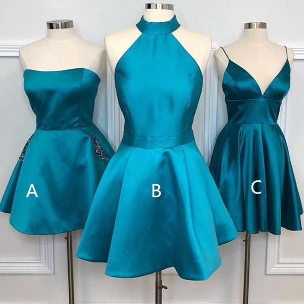 Teal Soft Satin Mismatched Homecoming Dresses ,H3714
