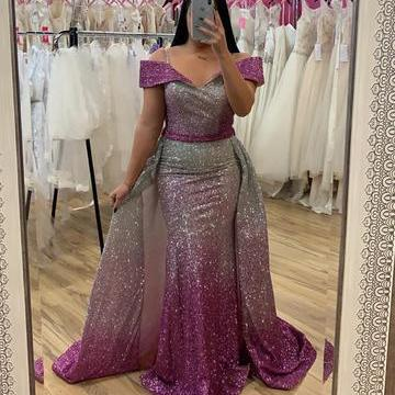 Ombre Sequins V-neck Off Shoulder Mermaid Evening Dresses,P3719