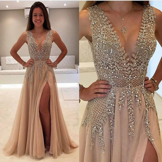 2017 Custom Made Deep V Prom Dress,Beaded Prom Dress,Fashion Prom Dress,Sexy Side Slit Evening Dress.High Quality,363