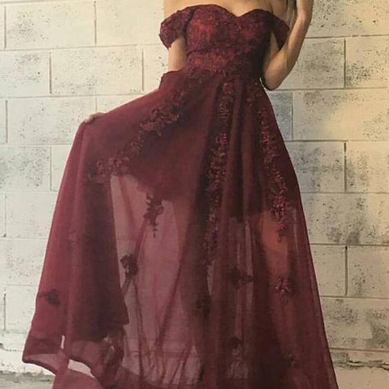 Off The Shoulder Prom Dress,Illusion Prom Dress,Applique Prom Dress