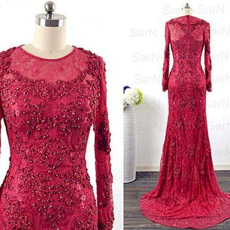 Sheer Long-Sleeved Beaded Mermaid Long Prom Dress, Evening Dress with Sweep Train